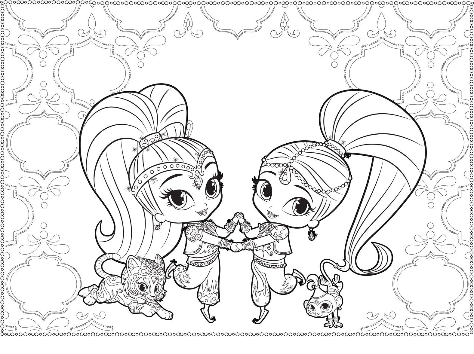 Shimmer Shine Coloring Pages