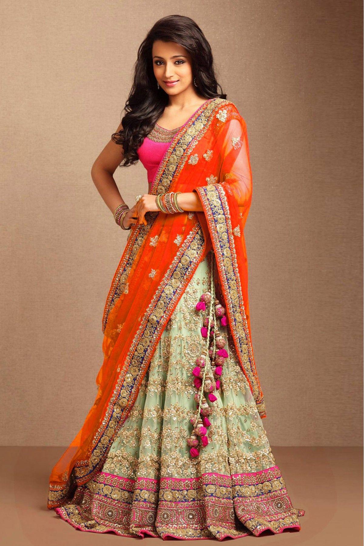 b632b747e6 Buy Trisha Krishnan Nylon Net Party Wear Lehenga Choli In Sea Green Colour  for women @ ninecolours.com. Worldwide Free Shipping Available!