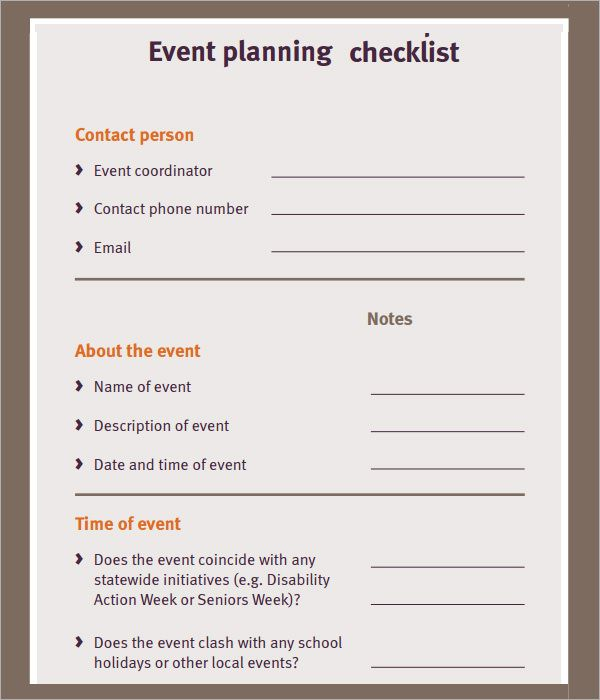 Free Event Planning Checklist  Ministry    Event