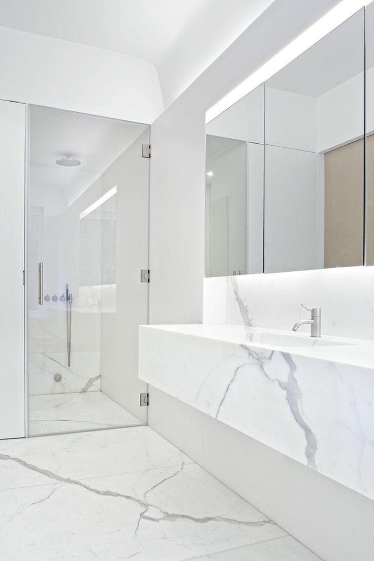 modern white marble bathroom  White marble bathrooms, Marble