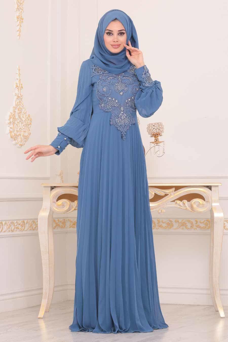 Neva Style Boncuk Detayli Indigo Mavisi Tesettur Abiye Elbise 91130im Tesetturisland Com The Dress Elbise Moda Stilleri
