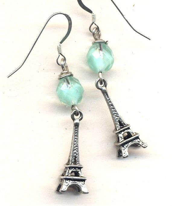 I'd rather be in Paris .... Sterling Silver wire Earrings SALE. $14.00, via Etsy.