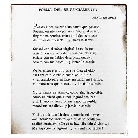 Poema De Despedida A Un Amor Imposible Poema De La Despedida De Jose Angel Buesa Google Search