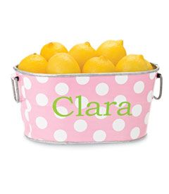 personalized pink dot oval tub