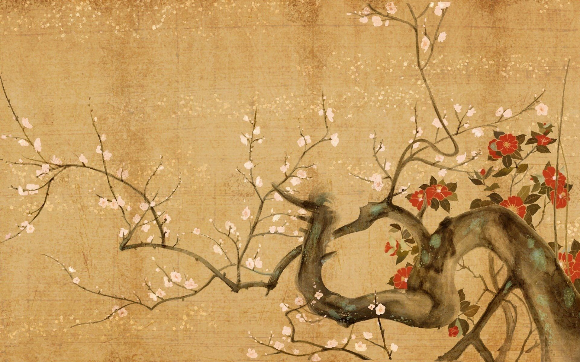 Line Art Painting Hd : Flowers paintings japanese art wallpaper
