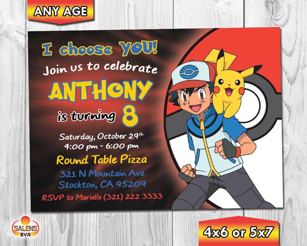 Pokemon Birthday Party Invitation / Pokémon invitation   Pinterest ...
