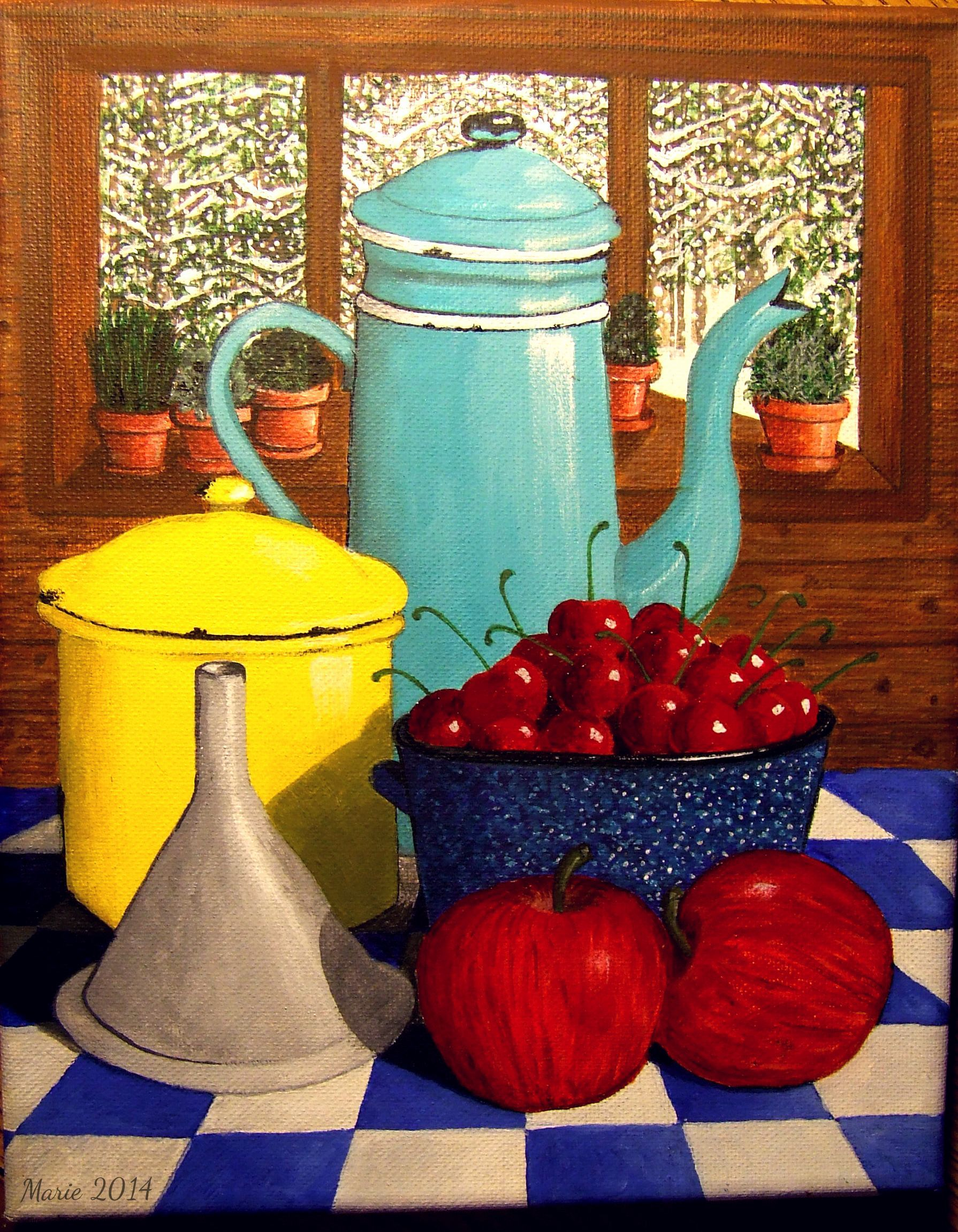 Tins and cherries, Still Life by Marie L. Cassidy