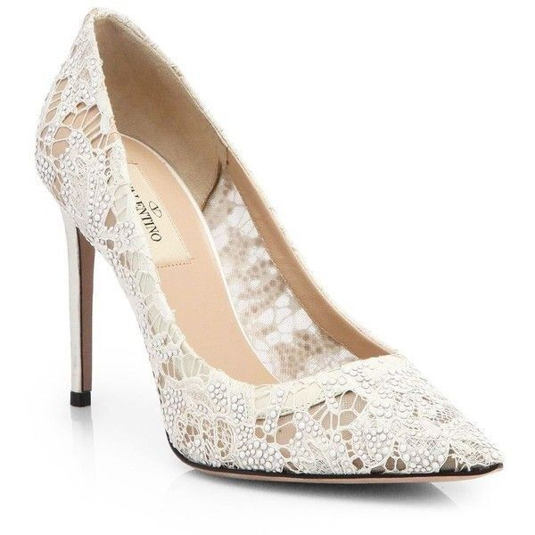Ivory Valentino Crystal Coated Embellished Lace Pumps   #Valentino #Wedding Shoes