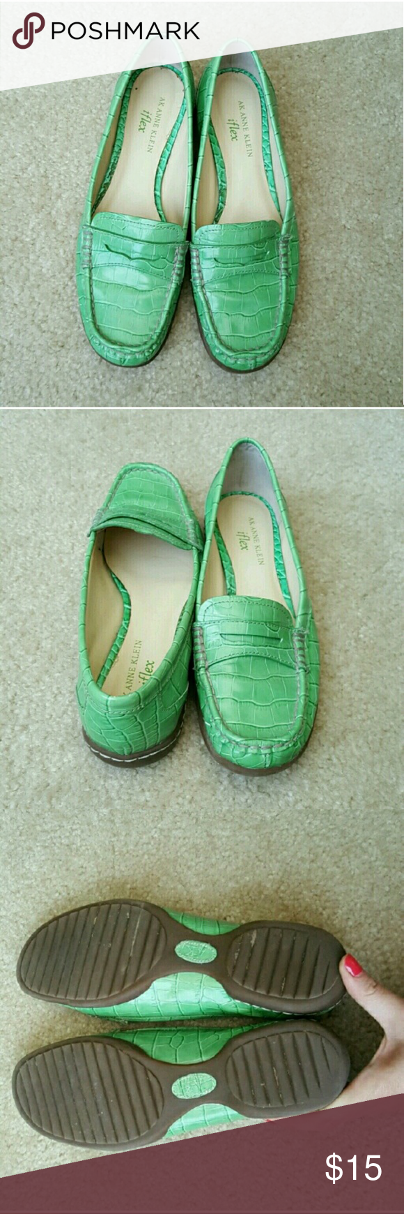 Green Anne Klein iflex Loafers Ridiculously comfortable loafers! Sm. defect shown in photo #4. Worn twice by original owner, am re~POSH'G, they didn't fit ???? 7.5 med. Leather upper, rubber sole..... Anne Klein Shoes Flats & Loafers