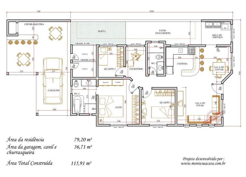 plantas de casas de esquina 8jpg (829×596) ARQ Plantas - plan maison 170 m2 plain pied