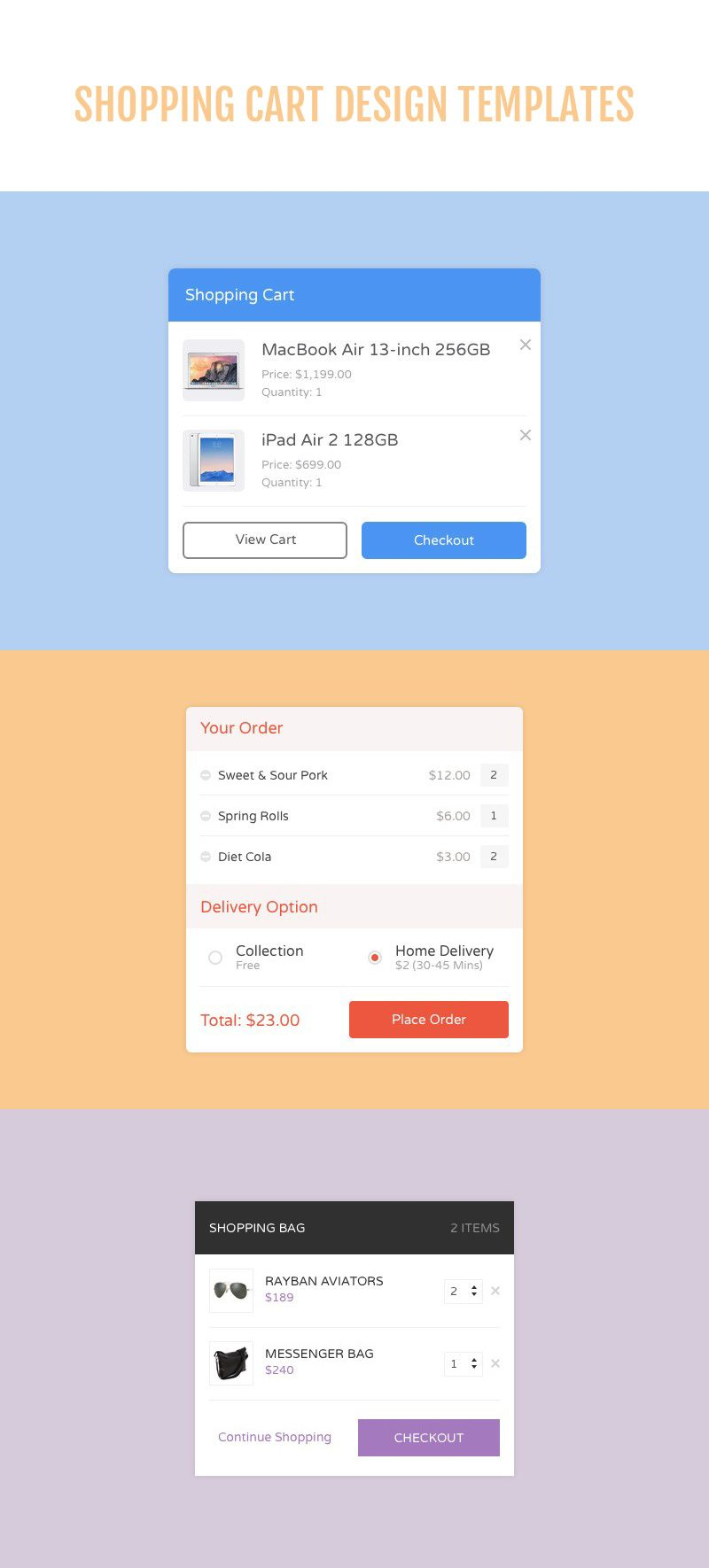 These 4 Free Shopping Cart Templates By Medialoot Can Save You Time Implementing Them Into Your Web Or App Designs Included Are For Physical