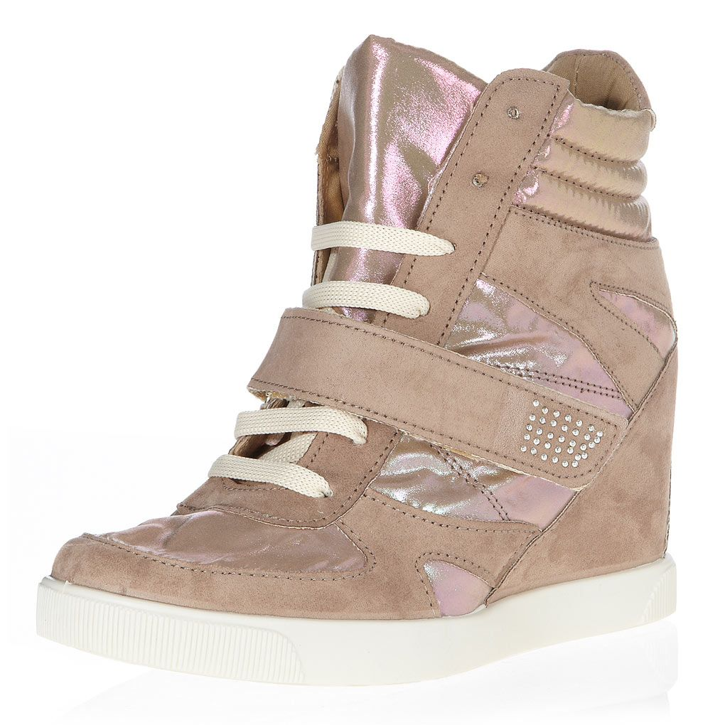 Taupe top wedge trainers