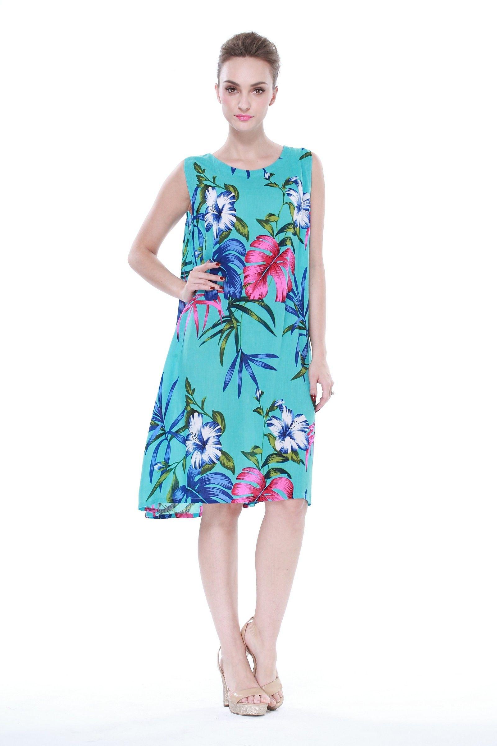Crinkle A Line Flowy Luau Dress in Pretty Floral Turquoise | Luau ...