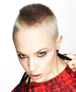 Short Blonde straight spikey coloured shaved womens ...