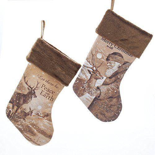 "Amazon.com - Kurt Adler 19"" Linen Santa & Deer Stockings 2/asstd -"