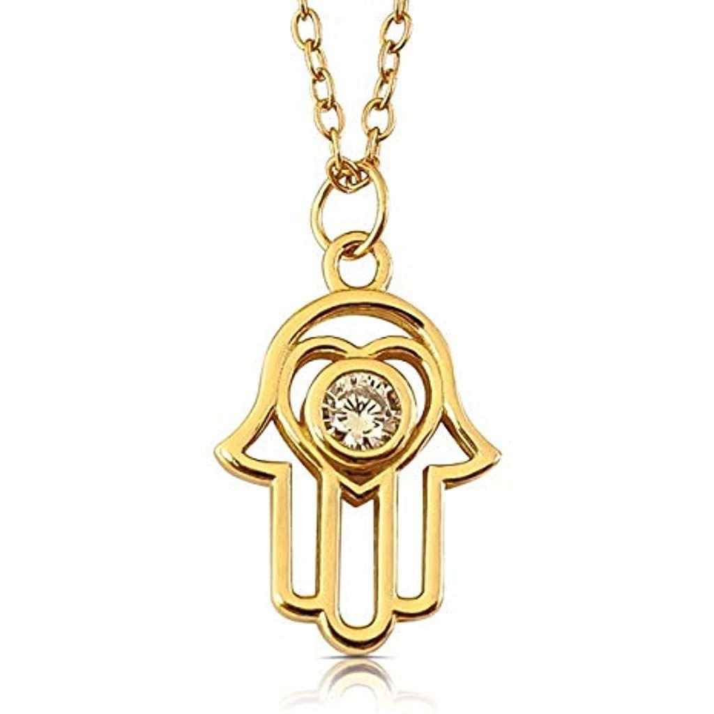 Viasoul Halskette Fur Damen I Hand Der Fatima Aus 925er Silber Mit 585er Gold Uberzogen I Die Original Hamsa Kett Womens Necklaces Hand Of Fatima Women Jewelry