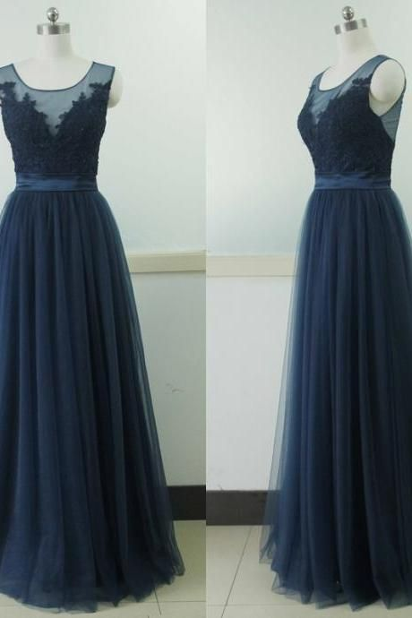 078010ac4e0a Sleeveless Tulle Party Dress Navy Blue Lace Bridesmaid Prom dress Custom A-line  Wedding Party Gown Sexy Dark Blue Cocktail Lace Gowns