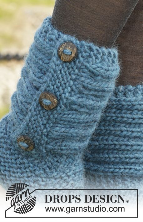 One Step Ahead - DROPS papučky s vysokou manžetou pletené vroubkovým ...