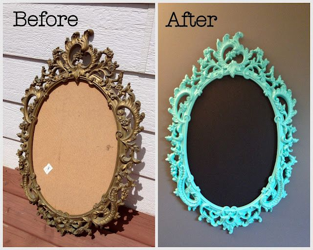Chalkboard Spray Paint Ideas Part - 35: DIY Project: Spray Painting An Old Frame- A Chalkboard Transformation