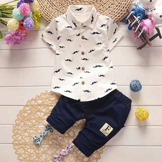 Baby Kids Boy Short Sleeve Suit T-shirt Tops+Pants Outfits Clothes Summer 2PCS