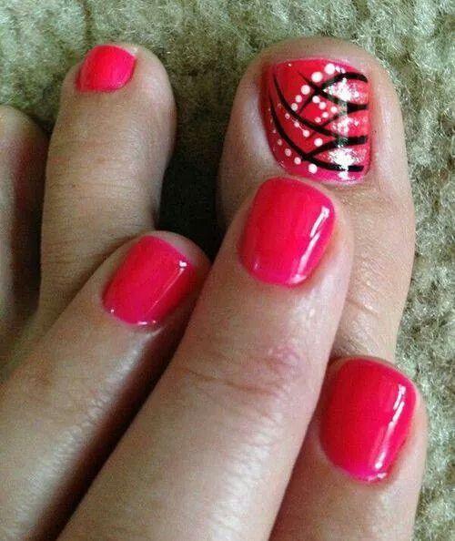 Strips And Dots Toes Nails Nail Design Art Red Black Gold Nails