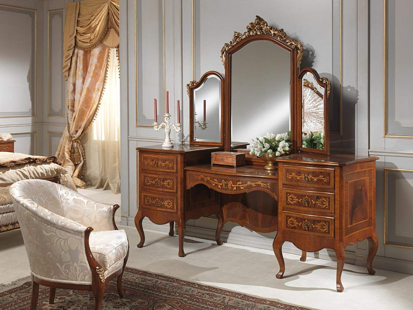 Classic louvre bedroom dressing table with mirror vanity