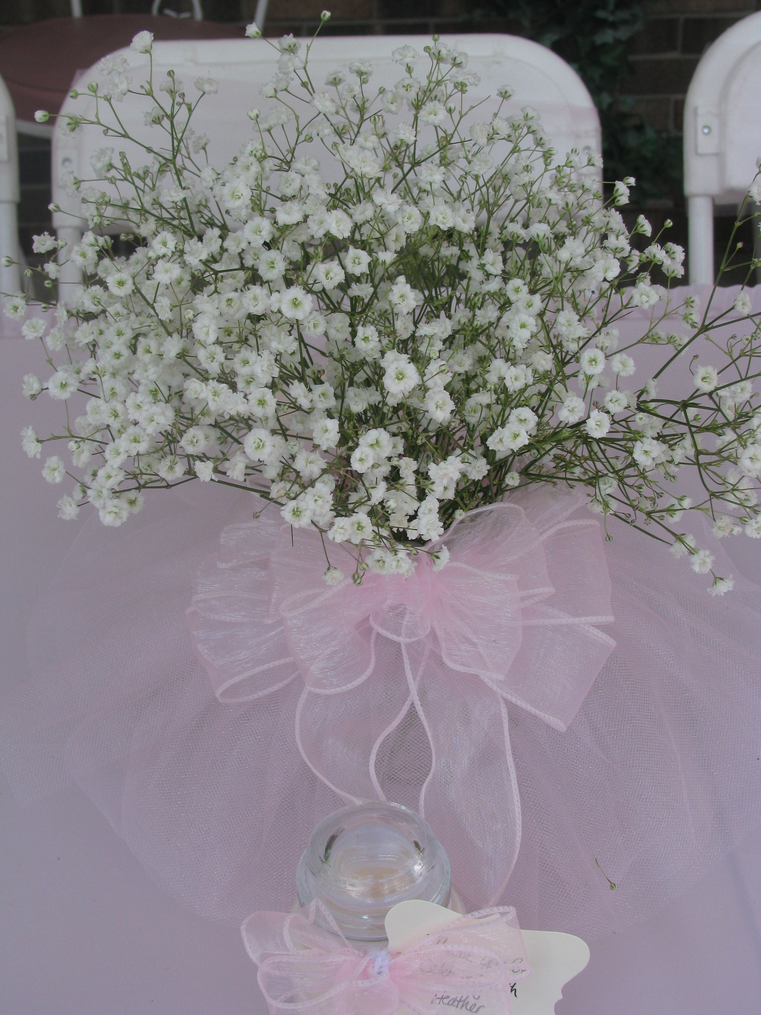 Pin By Hope Lucas On Baby Shower Babys Breath Centerpiece Tulle Centerpiece Baby Shower