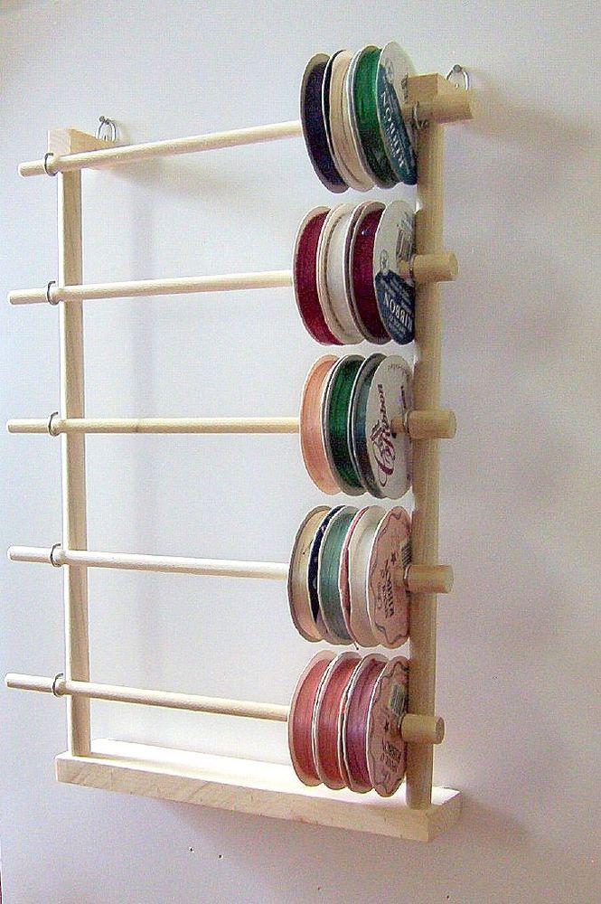 Hanging Ribbon Holder Storage Rack Scrapbook Organizer Holds 80