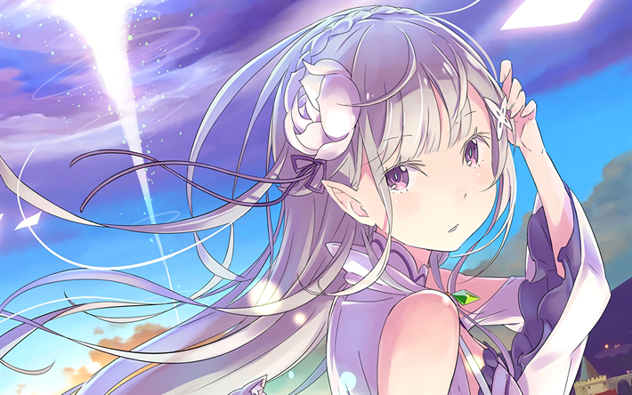 Download wallpapers Emilia, portrait, anime characters