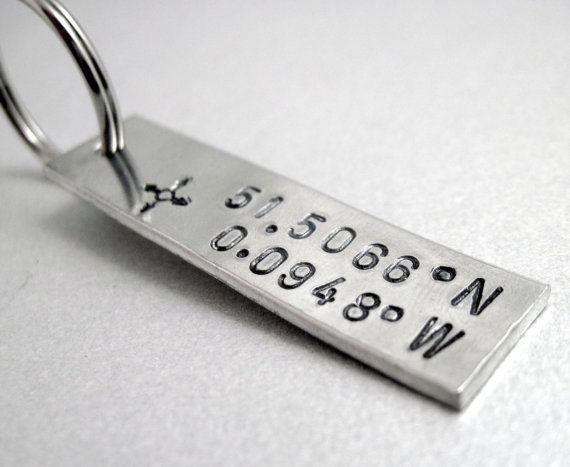 Latitude and Longitude Keychain - Custom Coordinates - Hand Stamped Keyring