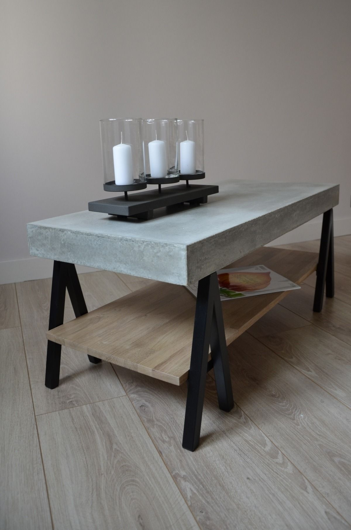 Table basse b ton bois ch ne et m tal acier coffee tables pinterest ba - Table basse metallique ...