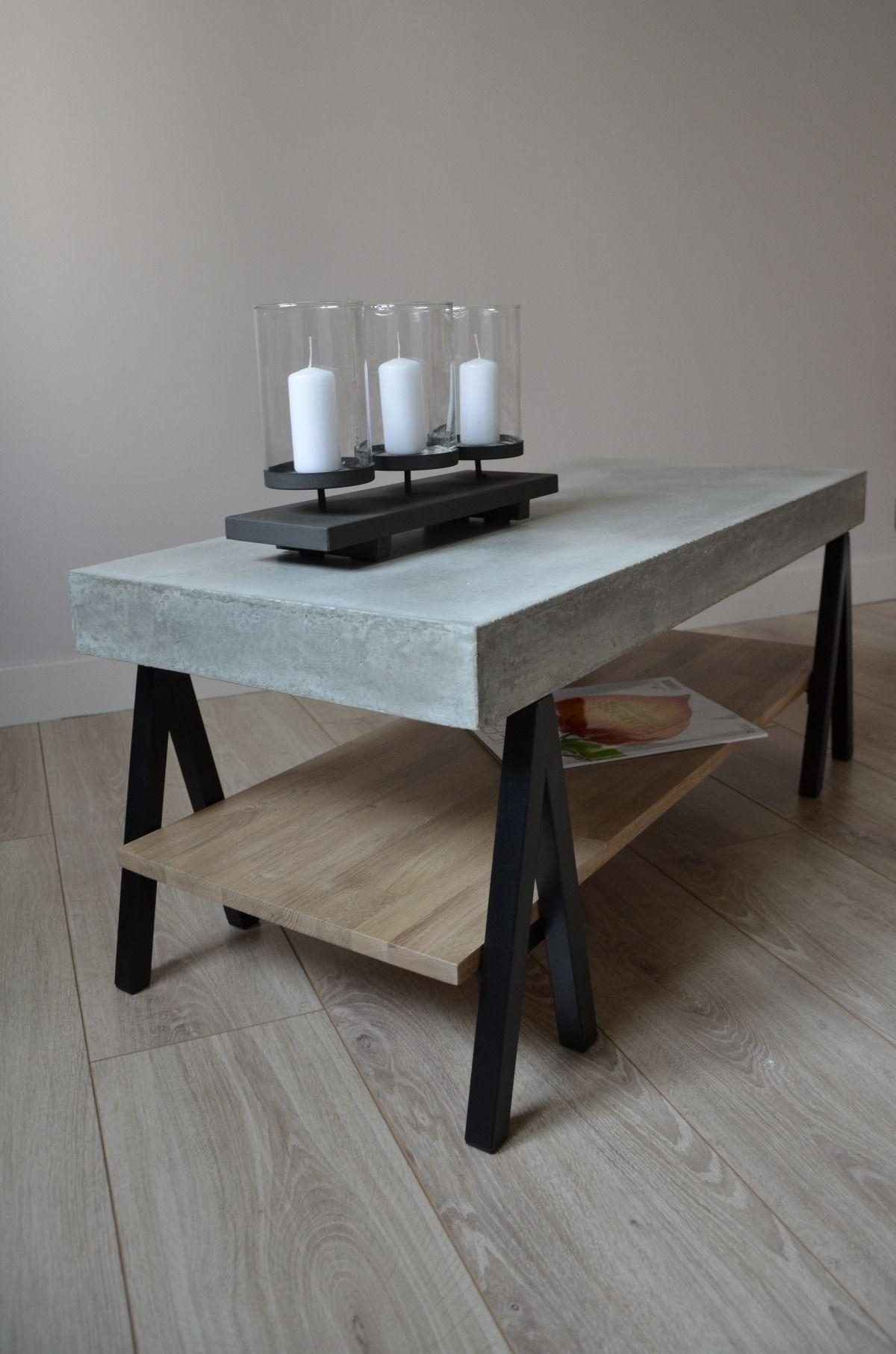 table basse b ton bois ch ne et m tal acier table bois. Black Bedroom Furniture Sets. Home Design Ideas