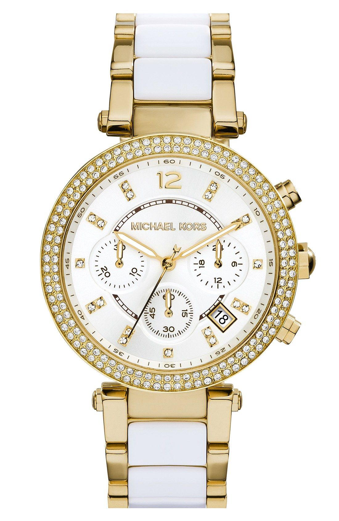 The sparkling crystals on this elegant Michael Kors watch are seriously dazzling.