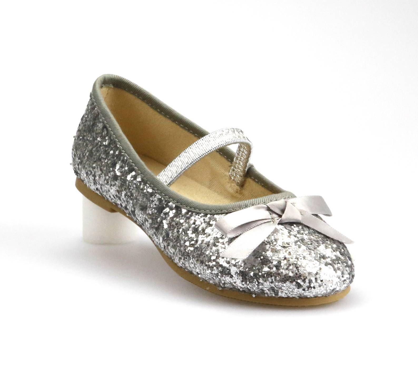 Youth 1 Girls Super Cute Dress Dancing Shoes Silver Sparkly Glitter