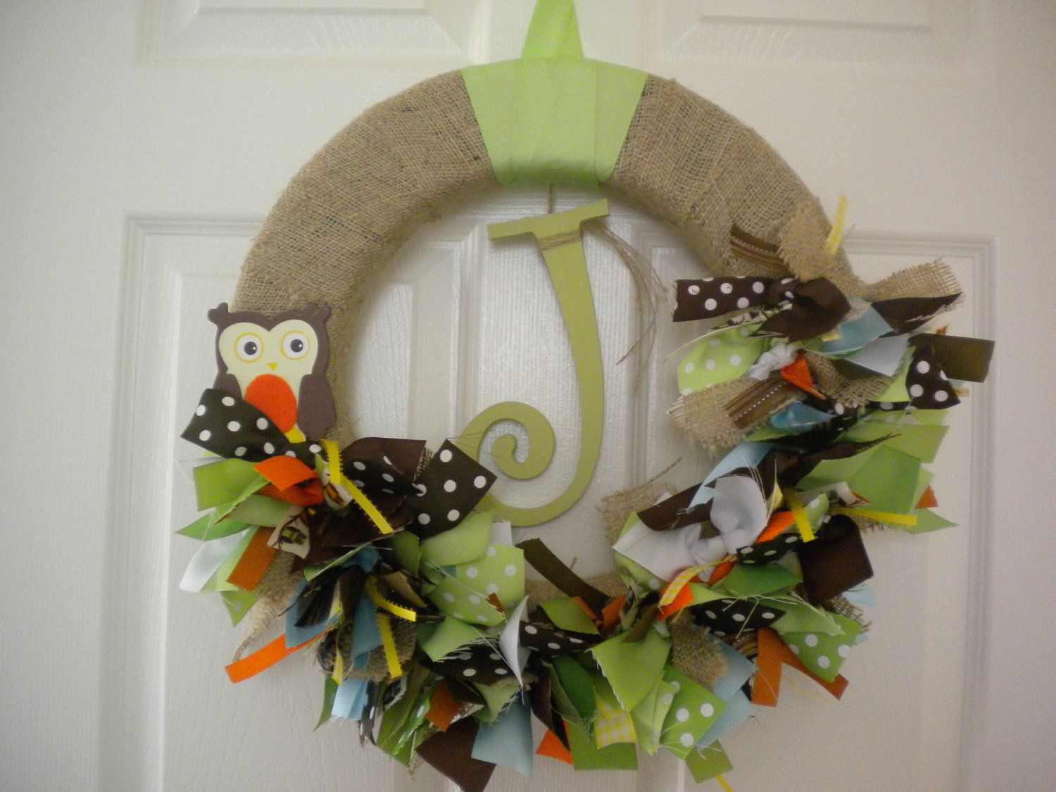 Photo of Burlap New Baby Ribbon Wreath in Forest Theme for hospital door, nursery, baby s…