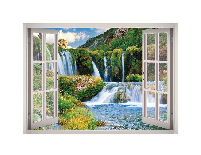 Huge Window Wall sticker Waterfall Print Wallpaper Vinyl Decor 3d Mural Art Home