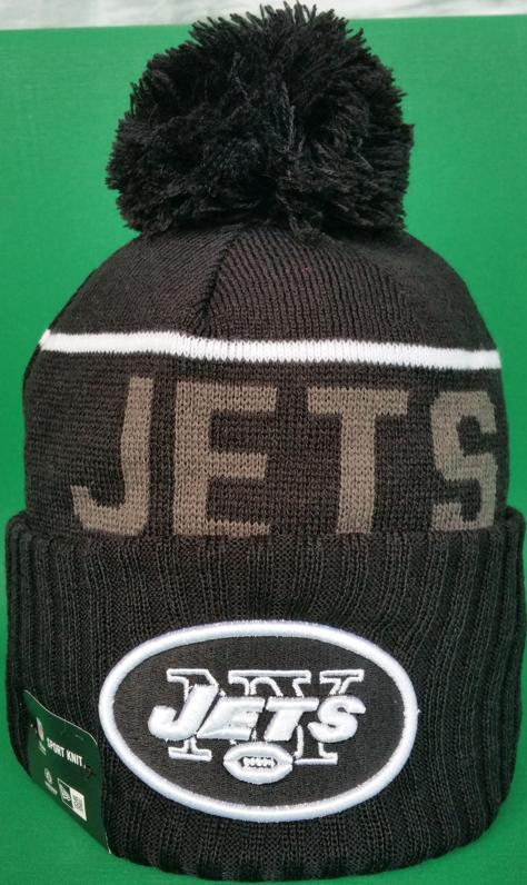 New York Jets Fleece Lined Black Pom Toque