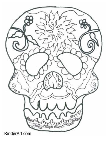 day of the dead calavera skull mask free halloween coloring pages to print and color - Halloween Coloring Online