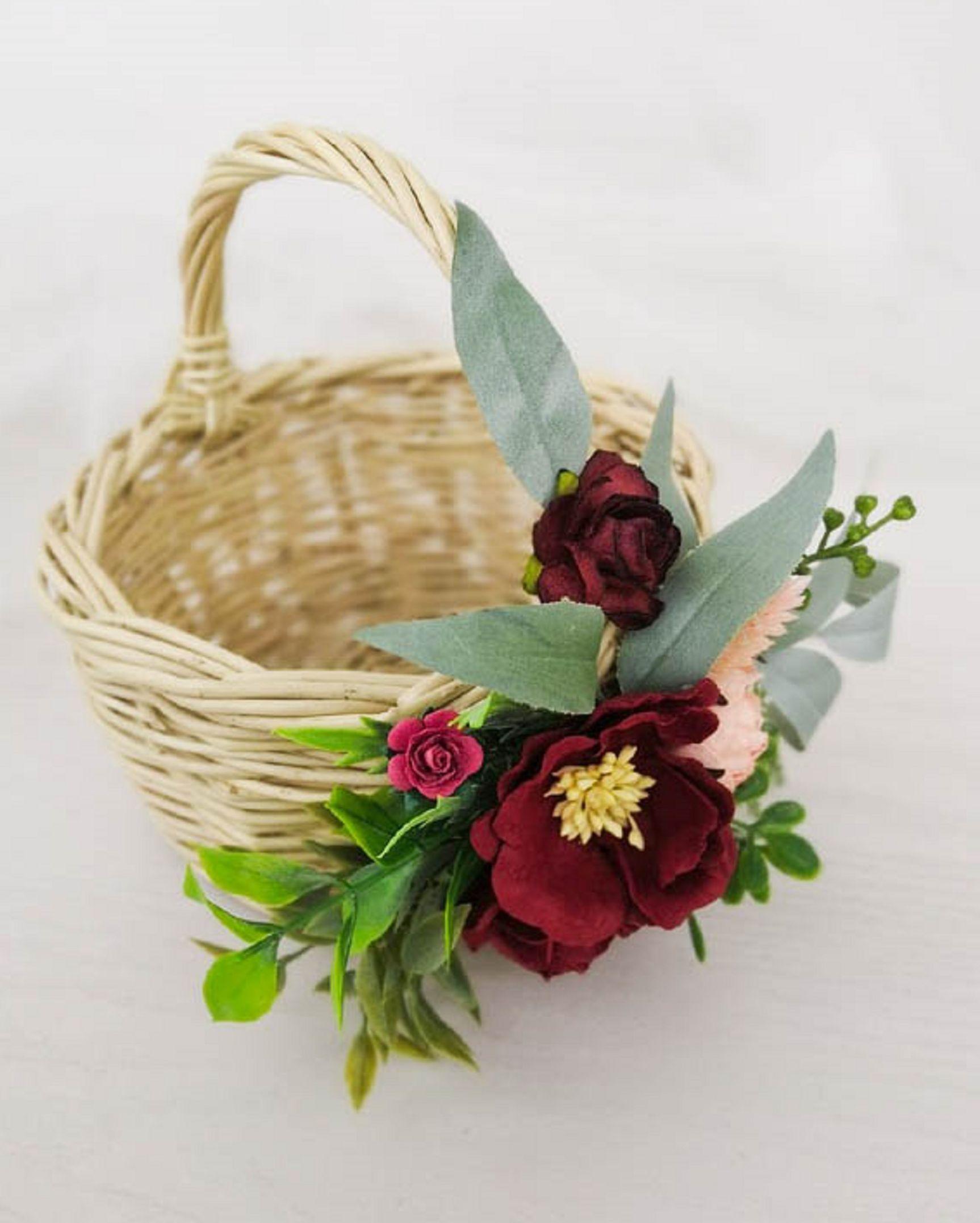 Flower girl basket wicker baskets with burgundy flowers