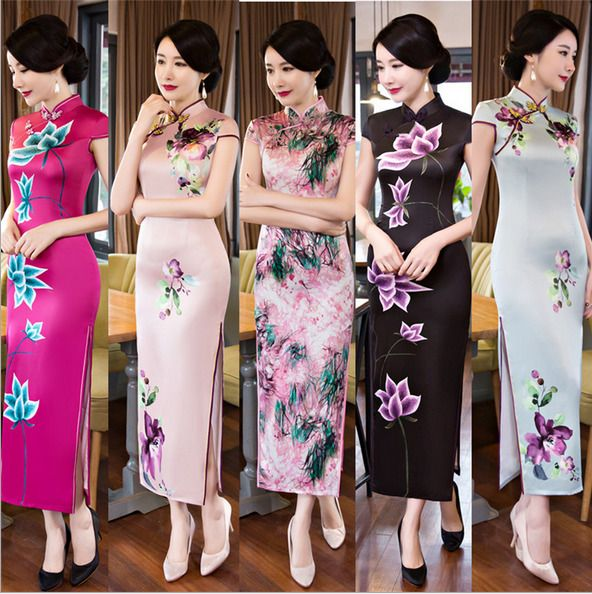 Ladies Long Retro Chinese Cheongsam Dress Formal Banquet Dress