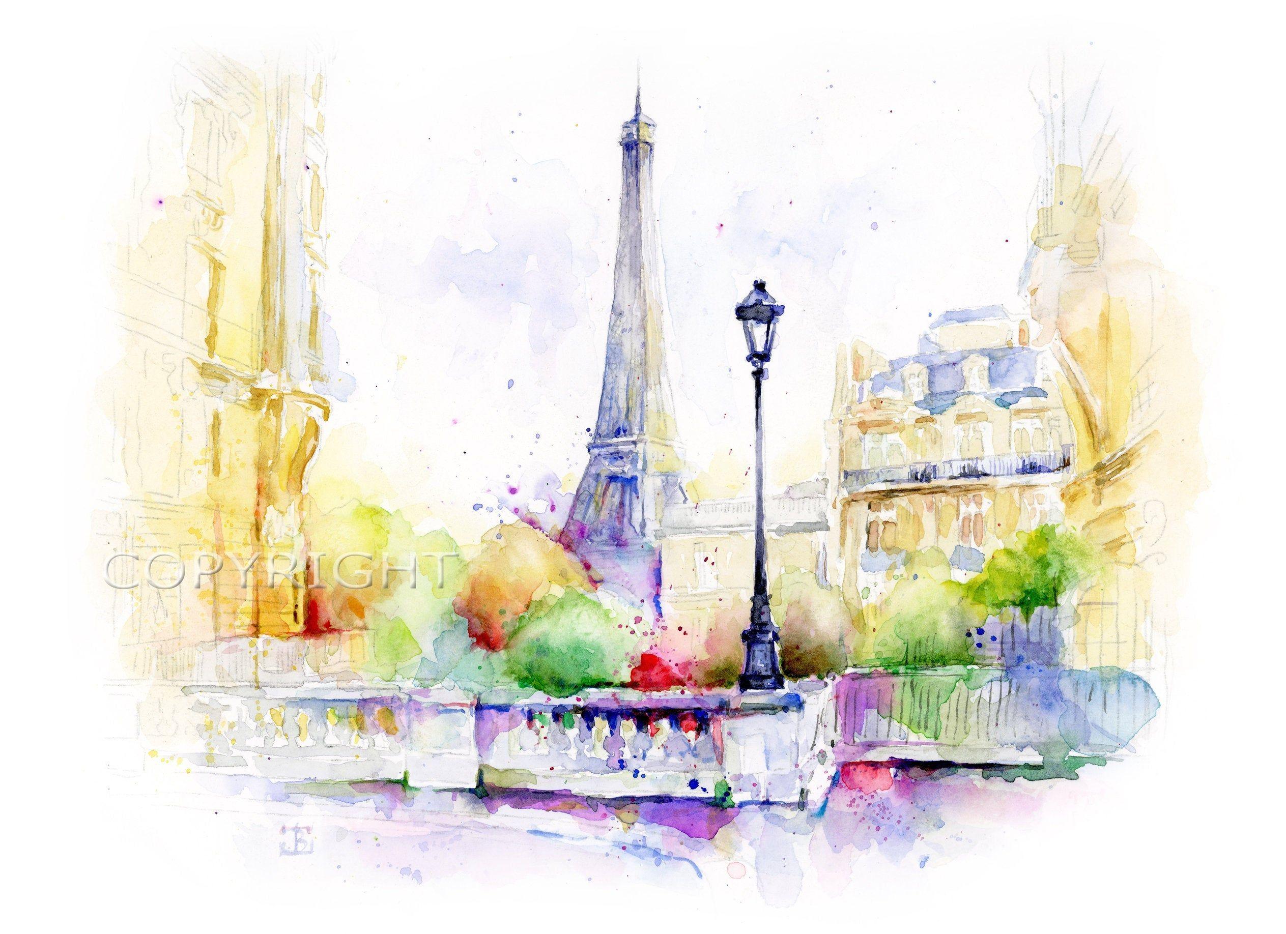 Eiffel Tower Watercolor Print Paris Wall Art Paris Decor