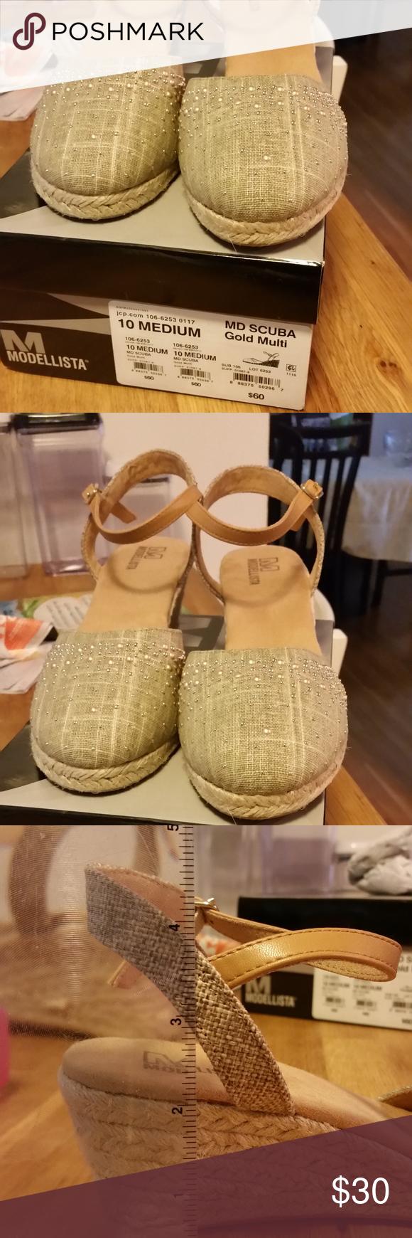 97b2efa0c24f Modellista Womens 10M NIB Gold wedge Modellista Womens 10 Medium MD Scuba  Gold Multi New In box - never worn Wedge Canvas shoe with gold Modellista  Shoes ...