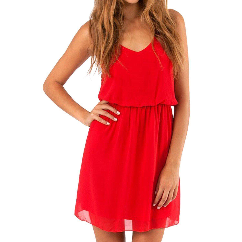 SUNNOW® Elegant Damen Sommerkleid Minikleid Casual doppel ...