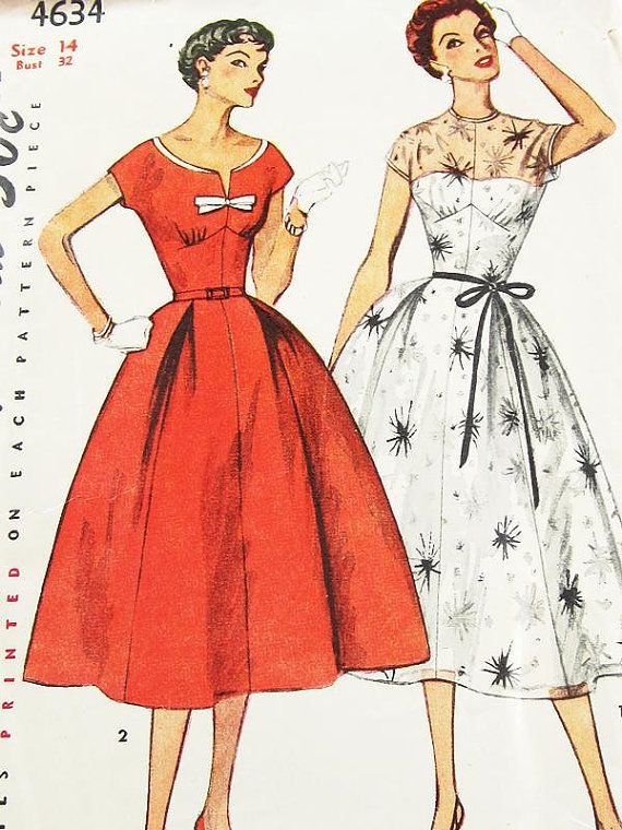Vintage 50s Dress Pattern Simplicity 4634 By ThePatternSource 3200