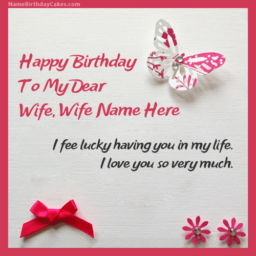 Cool Write Name On Butterflies Birthday Card For Wife Birthday Wishes Funny Birthday Cards Online Inifofree Goldxyz