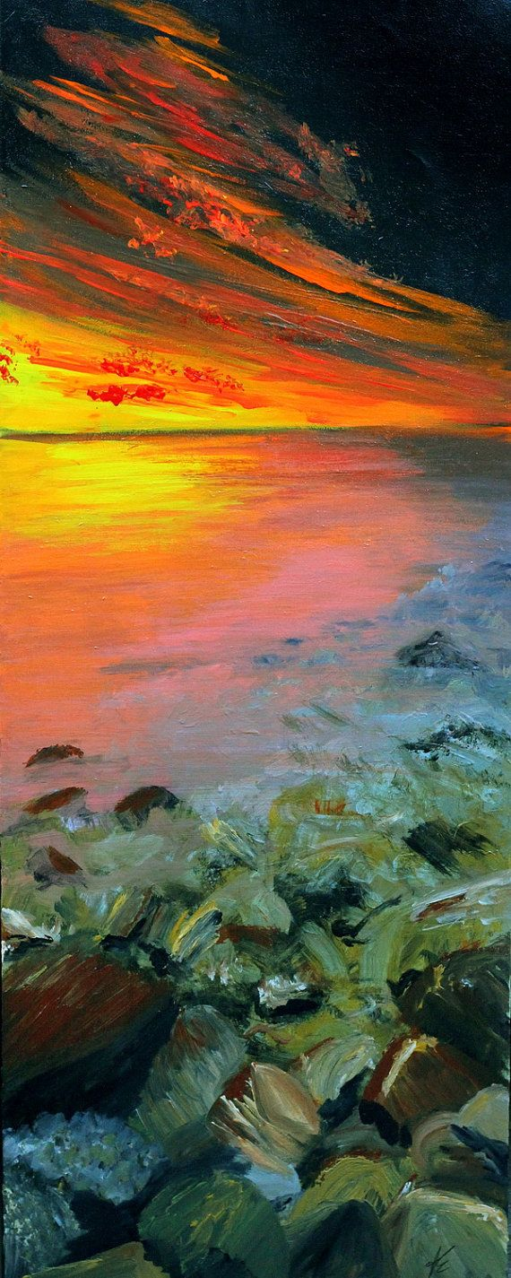 Landscape painting Eventide by GypsyFyreCreations on Etsy, $500.00