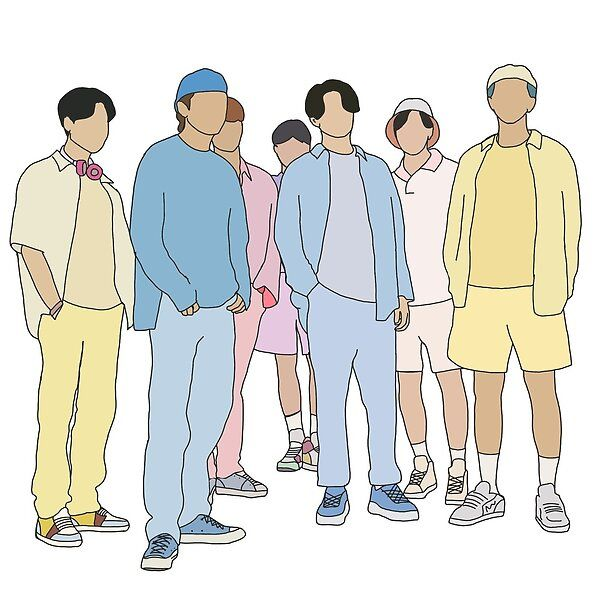 Photo of BTS DYNAMITE OT7 group photo drawing by Elinatpwk | Redbubble