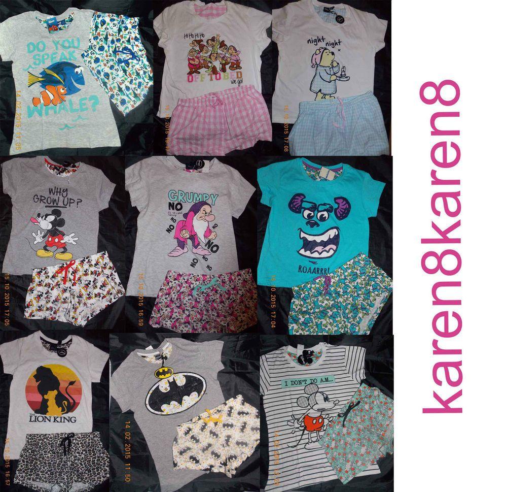 Primark Womens Disney Mickey Mouse Reversible Sequin Shorts Nightwear Pj/'s Set L
