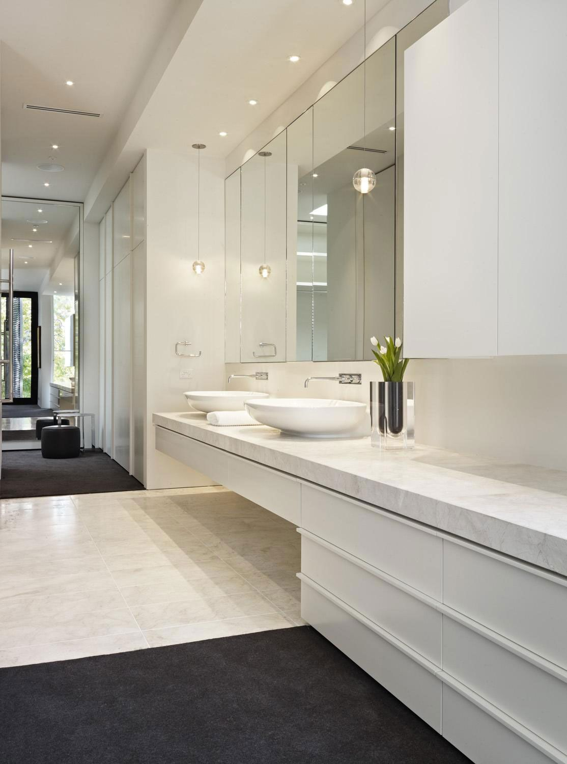 Large Bathroom Wall Mirror Verdant Avenue Home by Robert Mills Architects (10) Brushed Nickel Bathroom  Mirror, Large