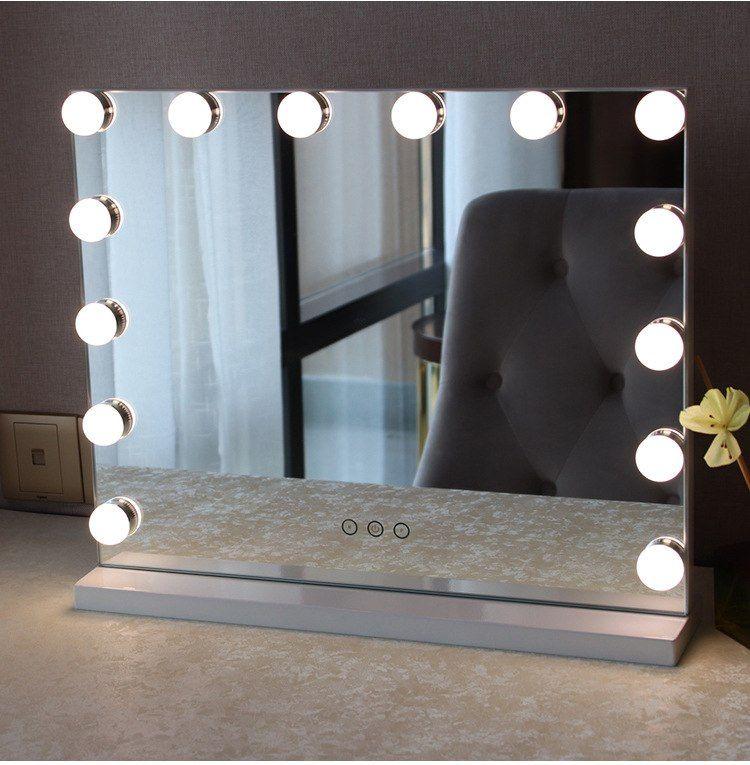 pas cher detail sans cadre vanity miroir avec la lumiere hollywood maquillage eclaire miroir 3 couleur
